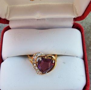 Amethyst gold tone Heart Ring Sz 6 3/4